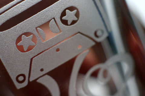 etched cassette tape shot glass detail