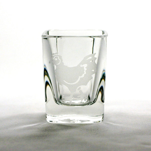 chicken etched shot glasses