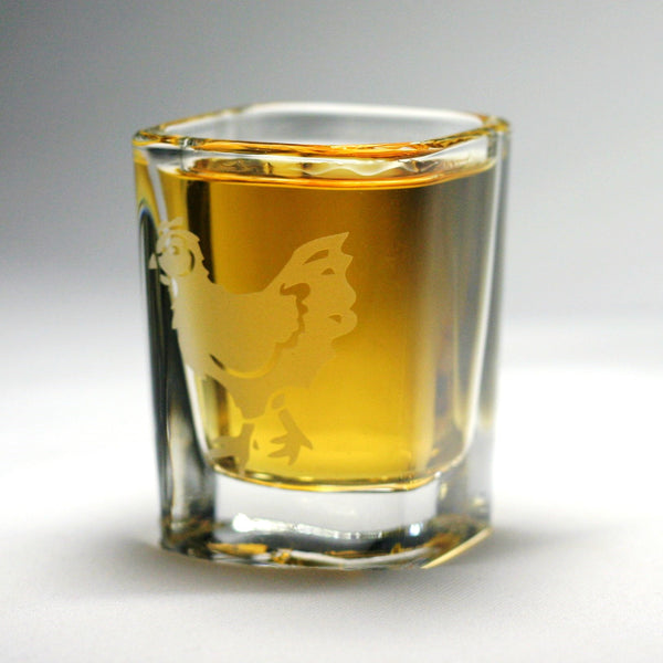 hen etched shot glasses