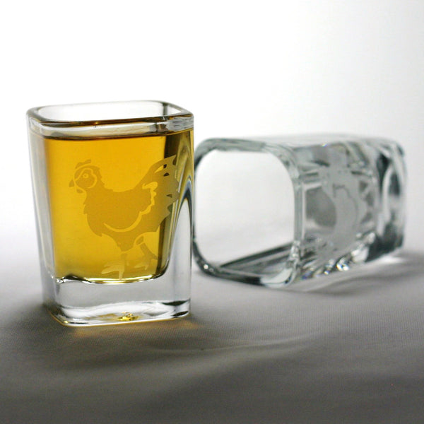 set of 2 chicken shot glasses