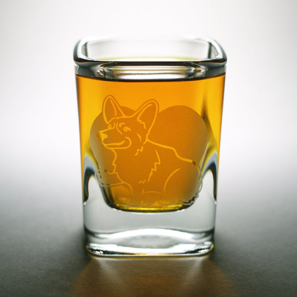 Corgi etched shot glass by Bread and Badger