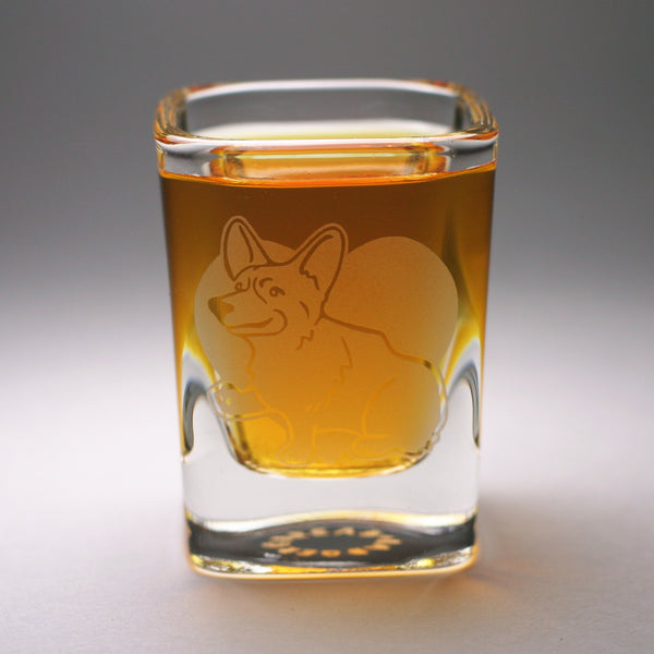 Corgi engraved shot glass by Bread and Badger