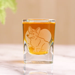 Corgi dog shot glass by Bread and Badger