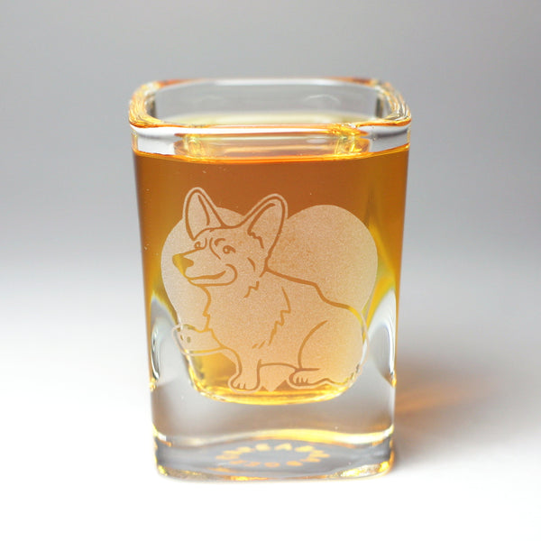 Corgi sandblasted shot glass by Bread and Badger