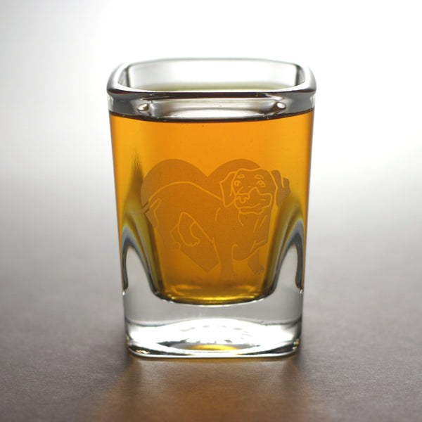 Dachshund engraved shot glass by Bread and Badger