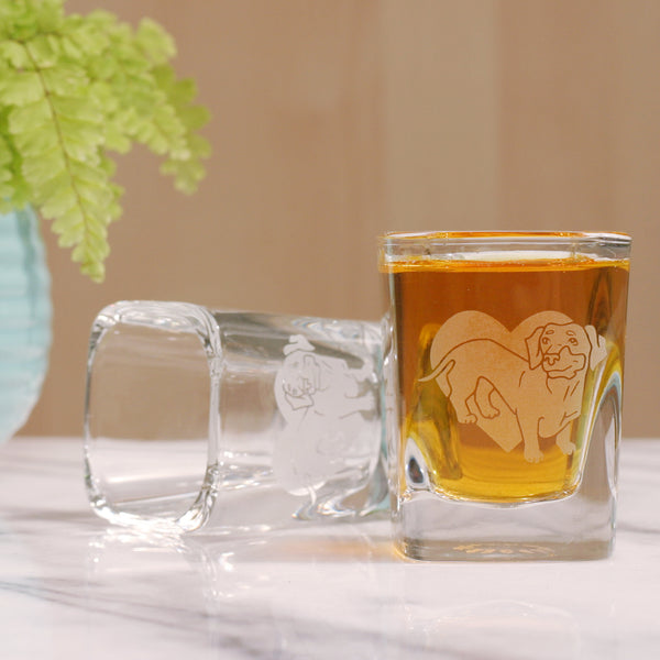 Dachshund sandblasted shot glass by Bread and Badger
