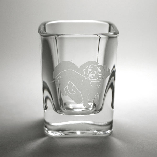 Dachshund etched shot glass by Bread and Badger