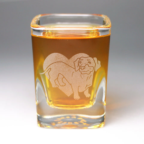 Dachshund whiskey shot glass by Bread and Badger
