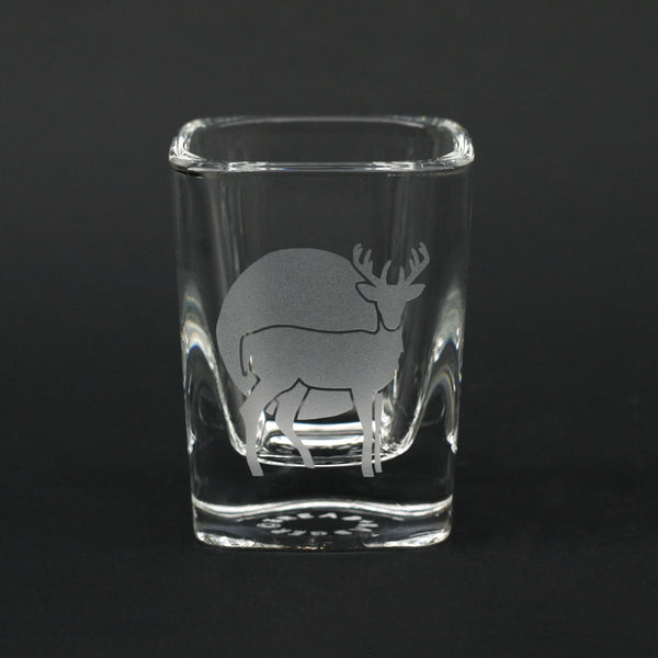 Deer etched shot glass by Bread and Badger