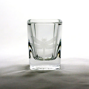 dragonfly etched shot glass