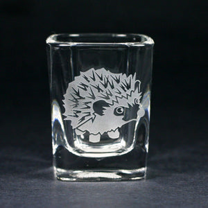 Hedgehog square etched shot glass