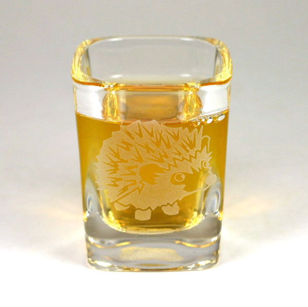Hedgehog etched shot glass