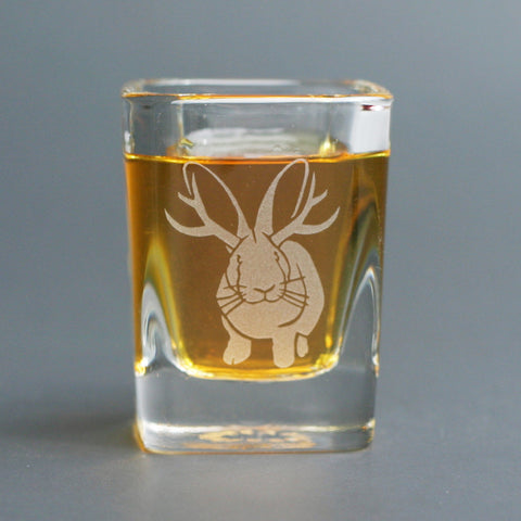 Jackalope shot glass by Bread and Badger