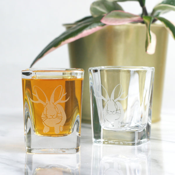 Jackalope antler rabbit shot glasses by Bread and Badger