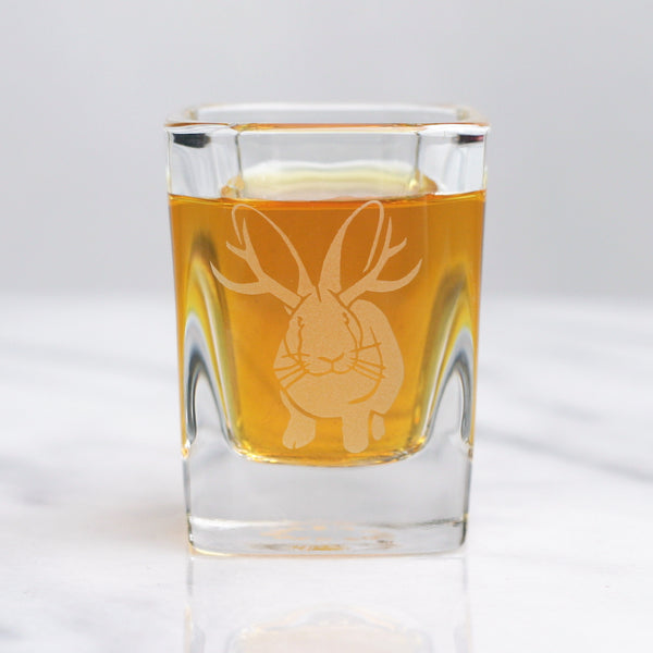 Jackalope rabbit shot glass by Bread and Badger
