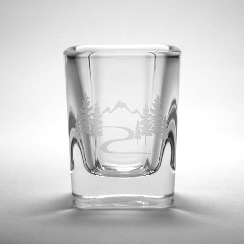Mountain Trail square shot glass by Bread and Badger