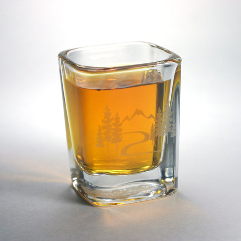 Mountain Trail hiking shot glass by Bread and Badger