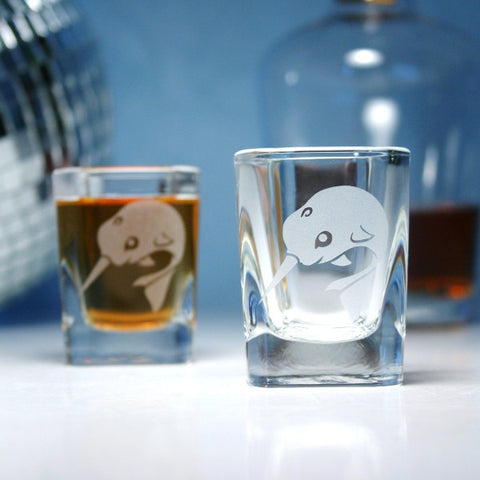 narwhal ocean whale shot glasses