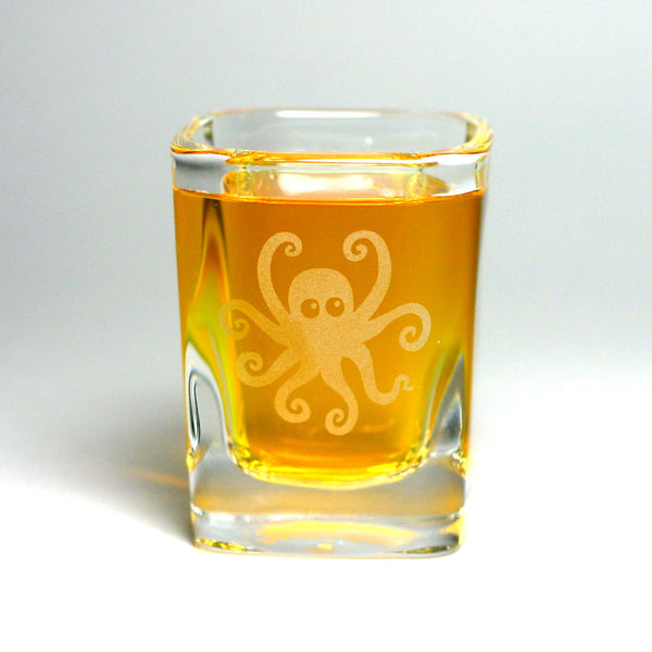 Octopus etched shot glass