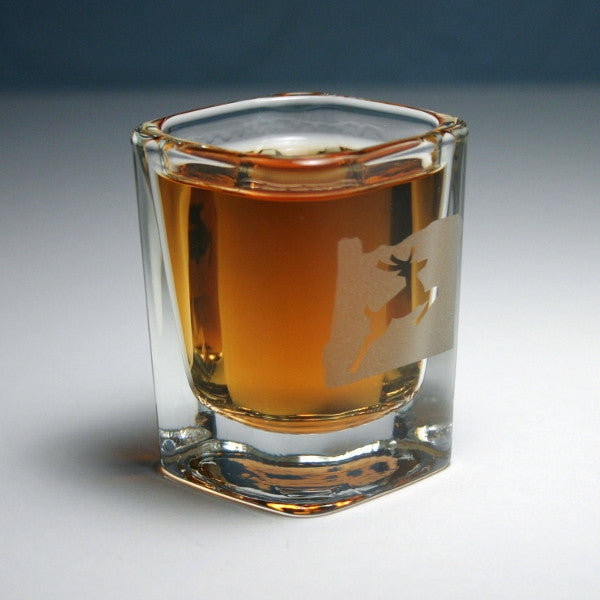 oregon stag etched shot glass