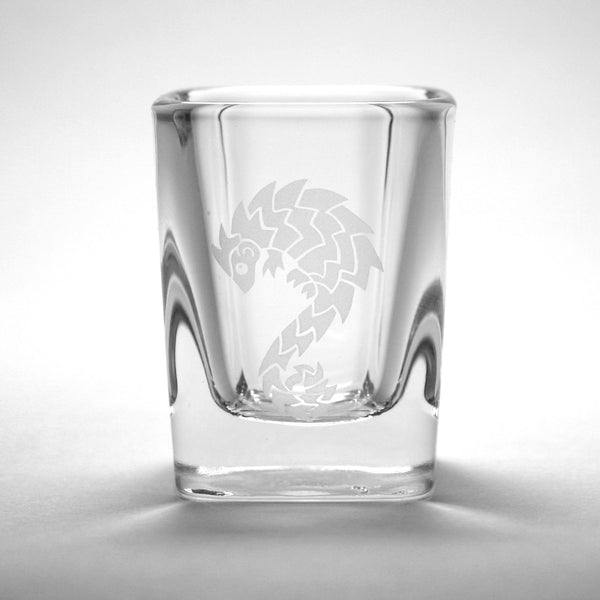 Pangolin square shot glass by Bread and Badger