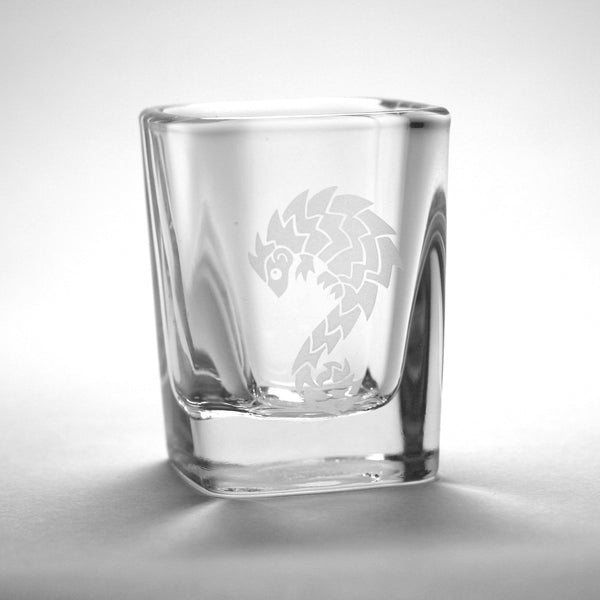 Pangolin etched shot glass by Bread and Badger