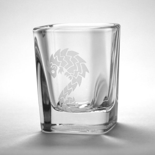 Pangolin sandblasted shot glass by Bread and Badger