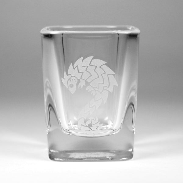 Pangolin 2oz shot glass by Bread and Badger