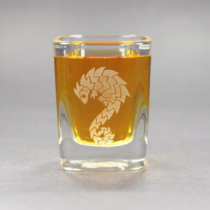 Pangolin shot glass by Bread and Badger