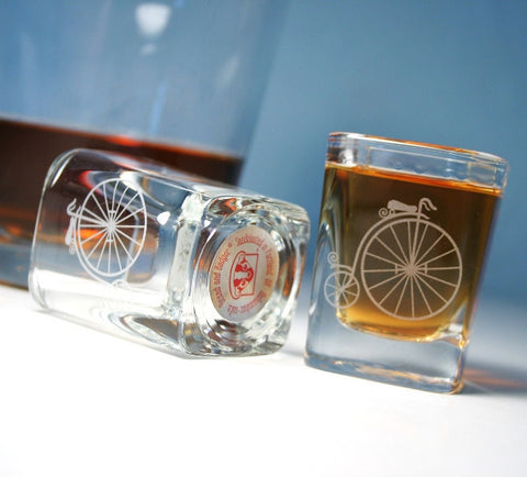 velocipede ordinary bike etched shot glasses