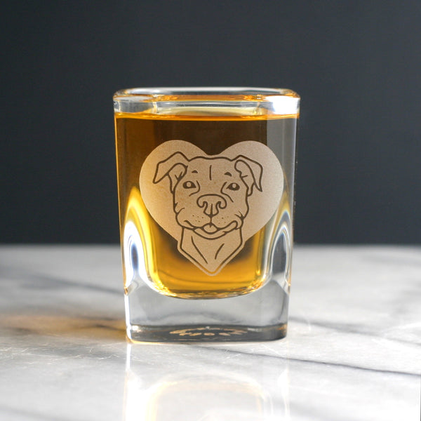 Pit Bull dog shot glass by Bread and Badger