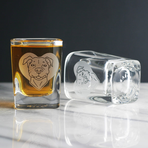 Pit Bull etched shot glass by Bread and Badger