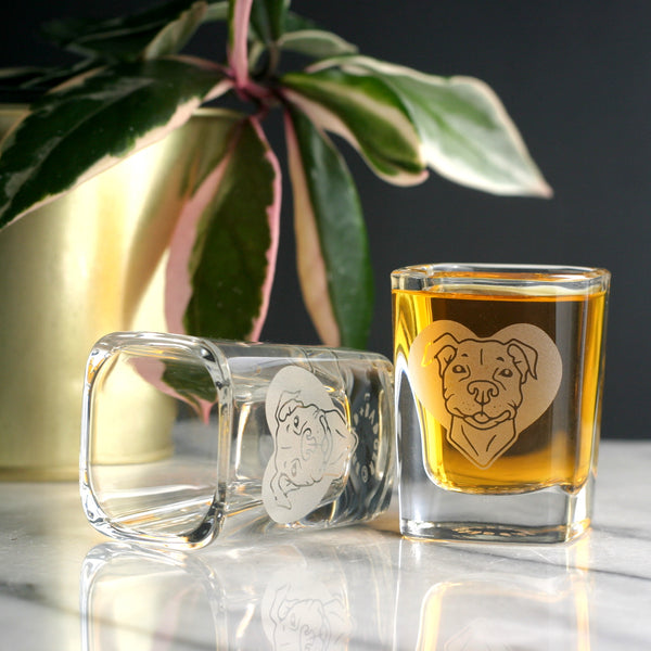 Pit Bull terrier shot glass by Bread and Badger