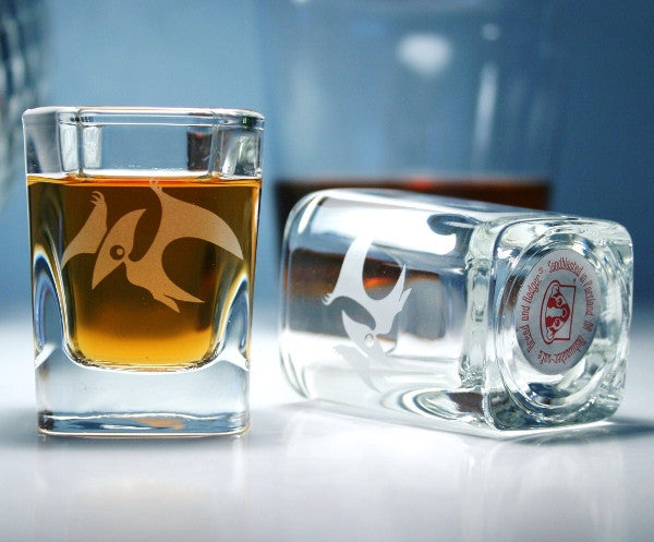 pterodactyl clear square shot glasses
