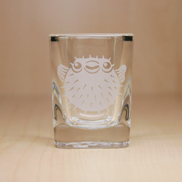 etched pufferfish shot glass by Bread and Badger
