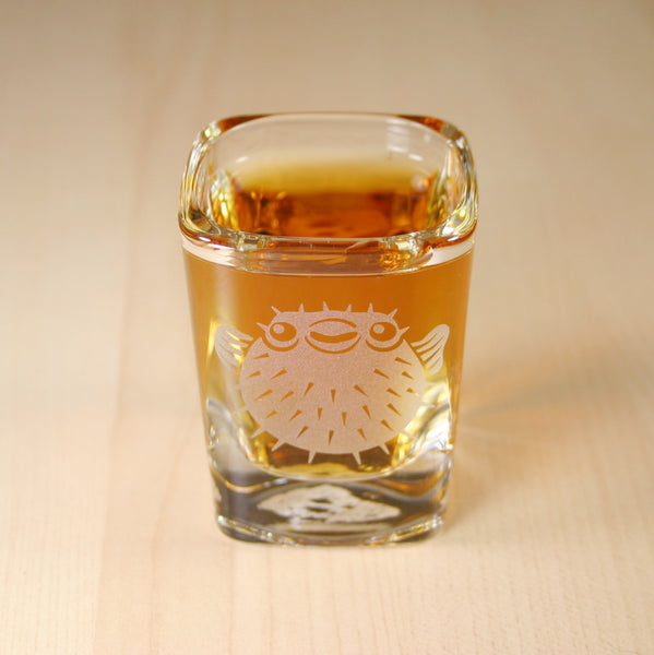 sandblasted pufferfish shot glass