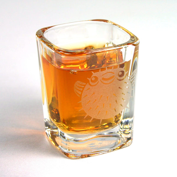 etched puffer fish shot glass from Bread and Badger!