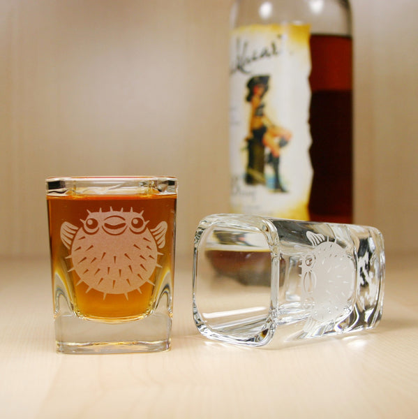 spiny puffer fish shot glasses