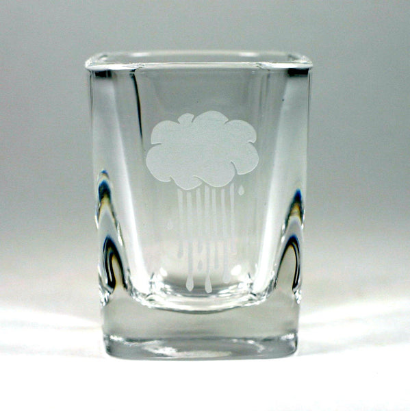 Rain Cloud shot glass etched by Bread and Badger
