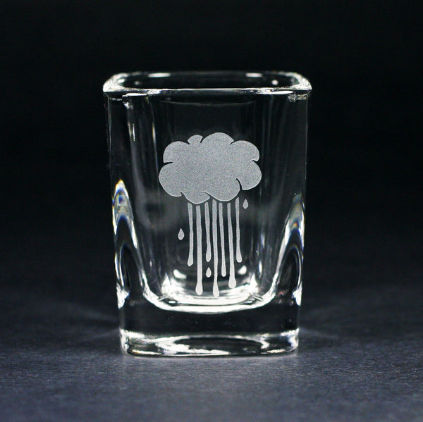 rainy day cloud etched shot glass