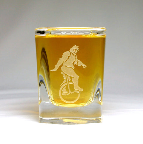 Silly Sasquatch etched shot glasses