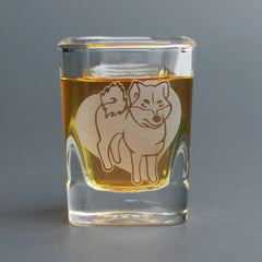 Shiba Inu Dog Shot Glass - 2oz, Square