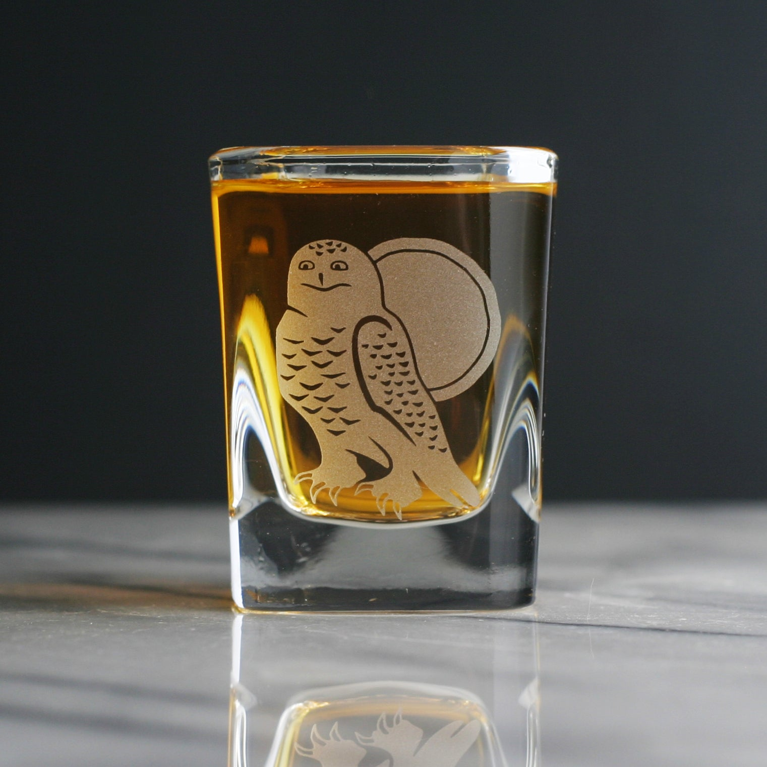 Snowy Owl shot glass by Bread and Badger