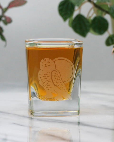 Snowy Owl square shot glass by Bread and Badger