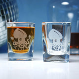 etched squid shot glasses