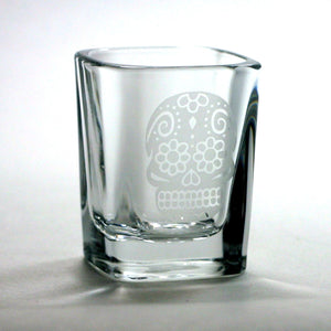 Sugar Skull etched shot glass by Bread and Badger