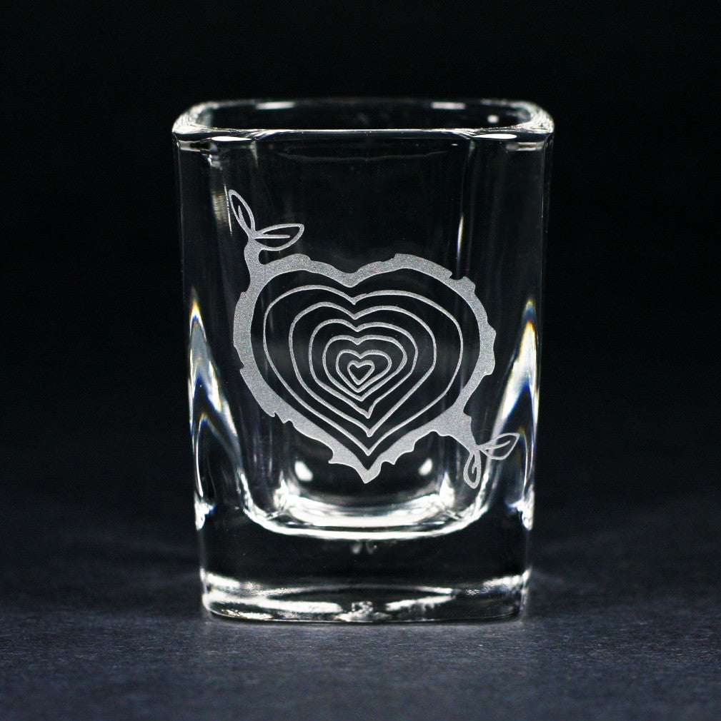tree stump heart shot glass by Bread and Badger