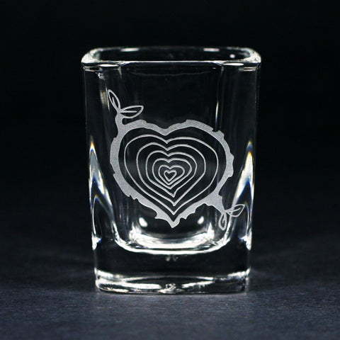 Tree Stump Heart Shot Glass