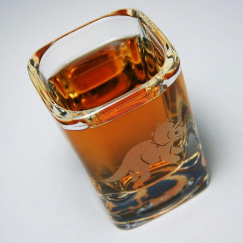 triceratops dinosaur etched shot glass