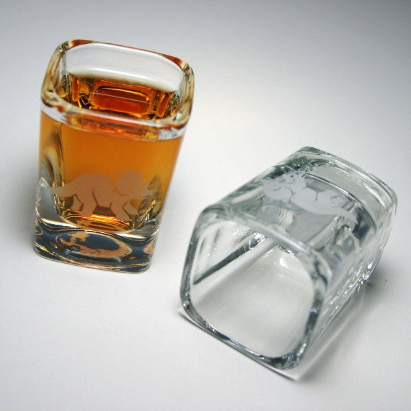 triceratops dinosaur square shot glasses